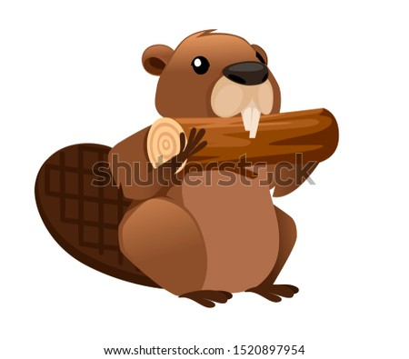 Cute brown beaver eating wooden stick. Cartoon character design. North American beaver Castor canadensis. Rodentia mammals. Happy animal. Flat illustration isolated on white background