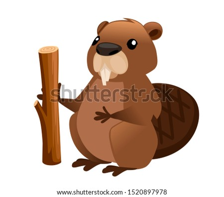 Cute brown beaver holding wooden stick. Cartoon character design. North American beaver Castor canadensis. Rodentia mammals. Happy animal. Flat illustration isolated on white background