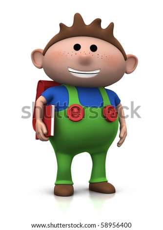 cute brown-haired boy with a satchel on his back and book under his arm - 3d rendering/illustration