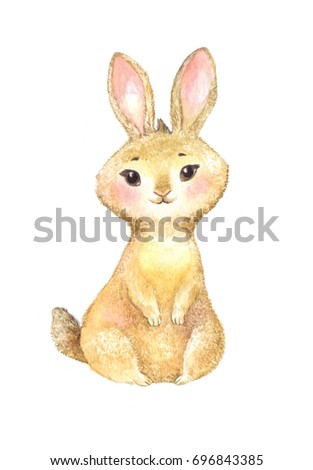 cute brown rabbit, watercolor illustration isolated on white. Drawing suitable for sticker, poster or invitation for children's birthday