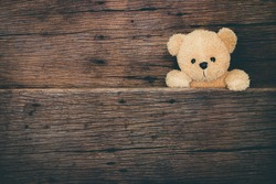 Cute brown teddy bear in old wood background