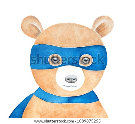 Stock Photo Cute brown teddy bear wearing blue superhero mask. Happy, smiling and soft. Hand painted water color drawing on white background, isolated. Children room poster, colorful art, printable decoration.
