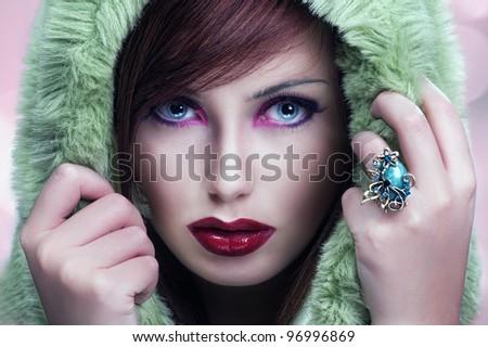 Cute brunette wearing hood