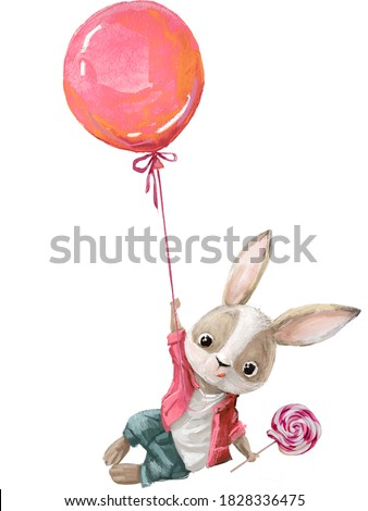 cute bunny character fly with balloon and bonbon