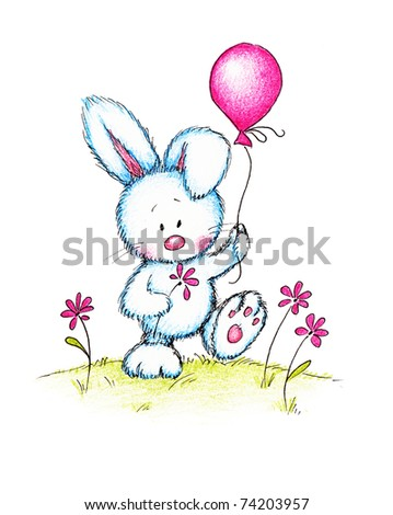 cute bunny holding pink flower and balloon on green lawn