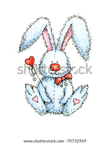 cute bunny holding red heart