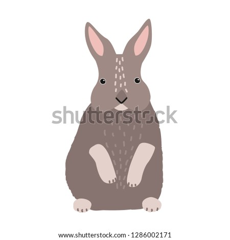 Cute bunny or rabbit isolated on white background. Funny barnyard or farm domestic mammal, adorable wild forest animal, Easter symbol or mascot. Colorful illustration in flat cartoon style.