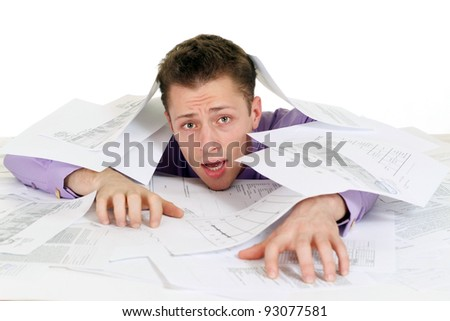 cute businessman with a lot of papers