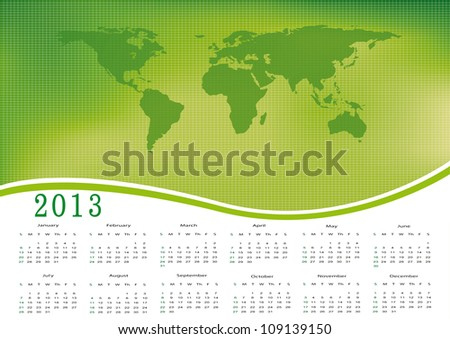 Cute calendar on New Year 2013 with ecology world