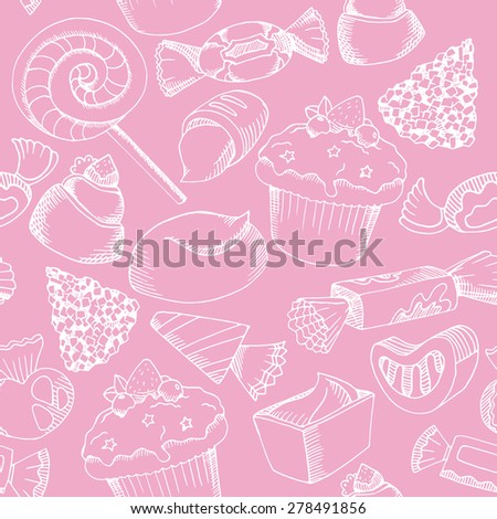 Cute candy seamless pattern, White graphic chocolate candy on pink background.