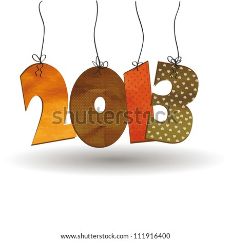 Cute card on New Year 2013 with retro numbers