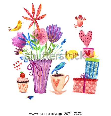 Cute card with birds and flowers Pastel drawing painting