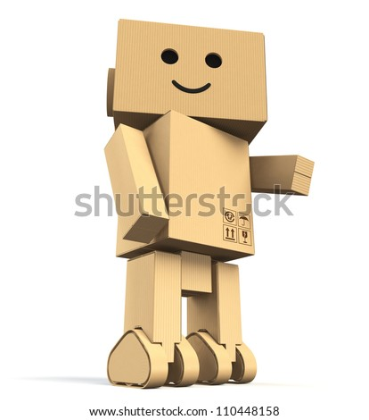cute cardboard robot(low camera  angle)