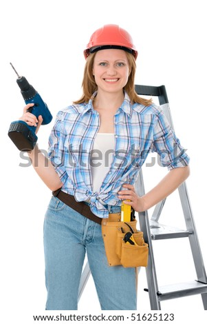 cute carpenter woman holding a drill, wearing a hardhat - stock photo