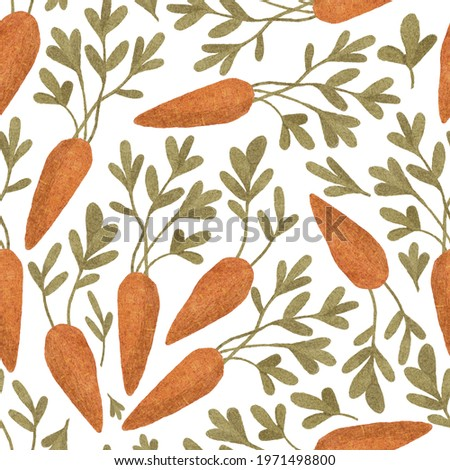 Cute carrot seamless pattern. hand drawn  colored watercolor pencils carrot with leaves. Bunch of carrots. design for printing on textile, paper