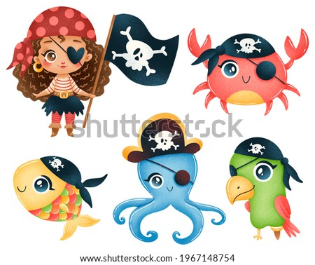 Cute cartoon african american pirate girl and pirates animals octopus, crab, parrot, fish set isolated on white background Foto stock ©