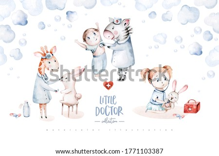 Cute cartoon animal doctor, pills, ambulance, mask, bacteria, viruses, coronavirus. Watercolor hand drawn boy and girl doctor set.