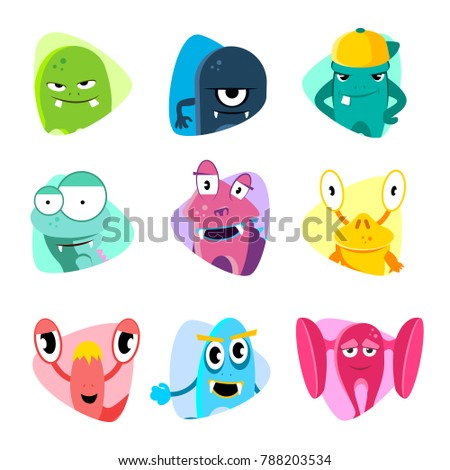 Cute cartoon avatars and icons. Monster faces set. Collection of face monsters illustration