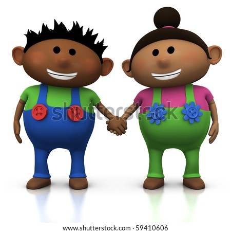 cute cartoon boy and girl holding hands - 3d illustration/rendering