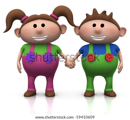 stock photo : cute cartoon boy and girl holding hands - 3d illustration/