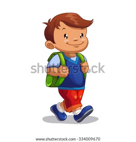 Cute cartoon boy goes to school, isolated on white