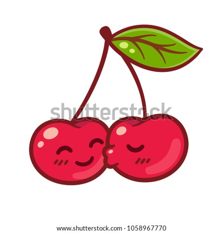Cute cartoon couple of cherries kissing. Funny Valentines day characters illustration.