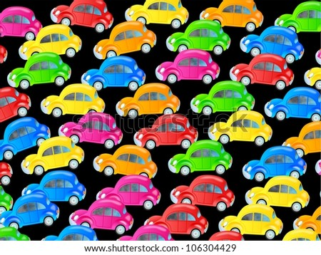 Cute cartoon design made up of colourful bubble cars forming a congested traffic jam wallpaper.