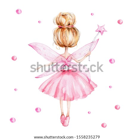 Cute cartoon fairy in pink dress with magic wand standing back; watercolor hand draw illustration; with white isolated background