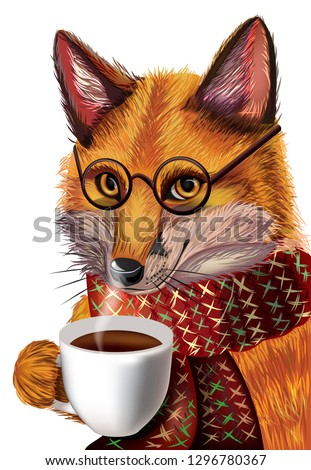 68905fdc33c cute cartoon fox with glasses. Fox drinking hot coffee winter background.  Character fox.