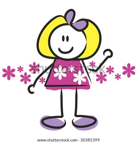 cartoon girl cute. stock photo : Cute cartoon girl with flower background