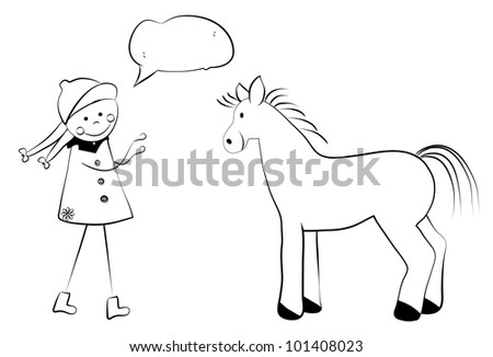 Cute cartoon girl with horse. Vector version also available in gallery