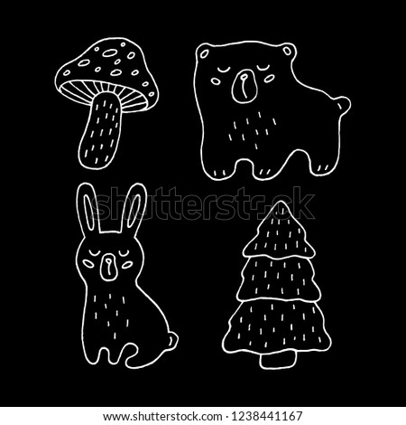 Cute cartoon hand drawn forest animals illustration collecton. Sweet raster black and white forest animals illustration collecton. Isolated monochrome doodle forest animals illustration collecton.