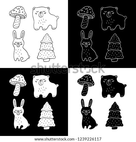 Cute cartoon hand drawn forest objects drawing collecton. Sweet raster black and white forest objects drawing collecton. Isolated monochrome forest objects drawing collecton.