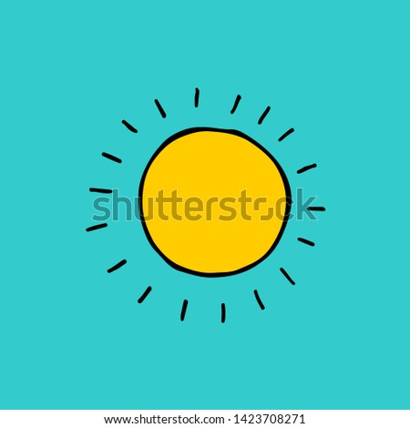 Cute cartoon hand drawn sun symbol. Funny raster colorful sun symbol. Isolated doodle sun symbol for various projects.
