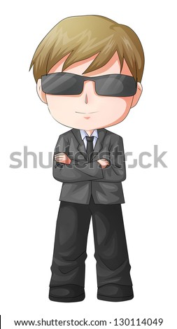 Cute cartoon illustration of a man figure in a suit and sunglasses