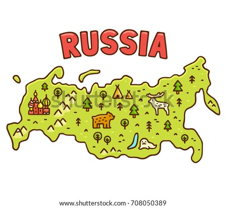 Cute cartoon map of Russia with hand drawn Moscow symbol and native animals. Funny geography illustration.