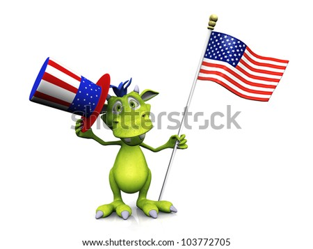 Cute cartoon monster holding an American flag in one hand and a flag decorated hat in the other. He's celebrating 4th of July or Independence Day. The monster is green with blue hair. White background