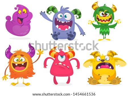 Cute cartoon Monsters. Set of cartoon monsters: ghost, goblin, bigfoot yeti, troll and alien and gremlin. Halloween characters