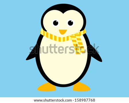 Cute cartoon penguin with yellow scarf
