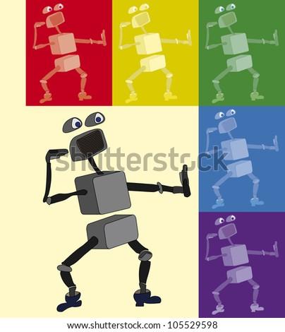 cute cartoon robot dance