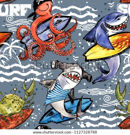 cute cartoon sea fish seamless pattern. vintage surf background. shark. octopus. crab. surfing.