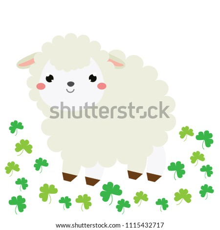 Cute cartoon sheep, lamb. Farm animal character for babies and children design, prints