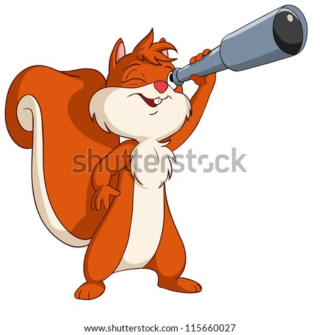 Cute cartoon squirrel looking through a telescope. Vector illustration. - stock photo