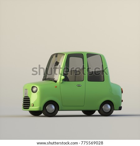 Cute cartoon stylized car green color isolated on a white background. Side view. 3d rendering, digital illustration