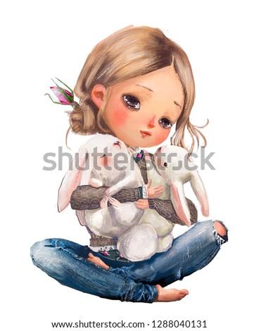 cute cartoon summer girl with little hares