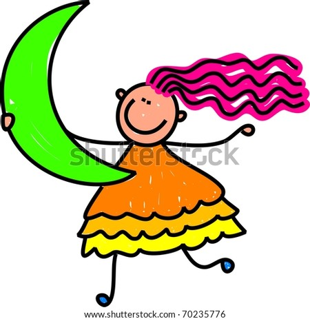 Cute cartoon whimsical illustration of a happy little girl holding a