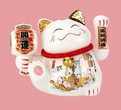 Cute cartoon white Maneki Neko, Japanese lucky cat. Good luck Feng Shui. The hieroglyphs on the cats translates as: Good luck, Full of wealth.