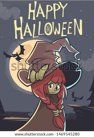 Cute cartoon witch in a big hat on a full moon night