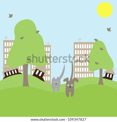 Cute cat and dog run away from big town towards nature. Concept illustration of urban problems
