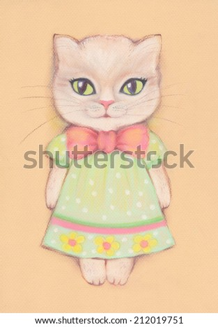 Cute cat girl dressed in a dress and with a bow Greeting card or invitation for birthday party or any party Funny background